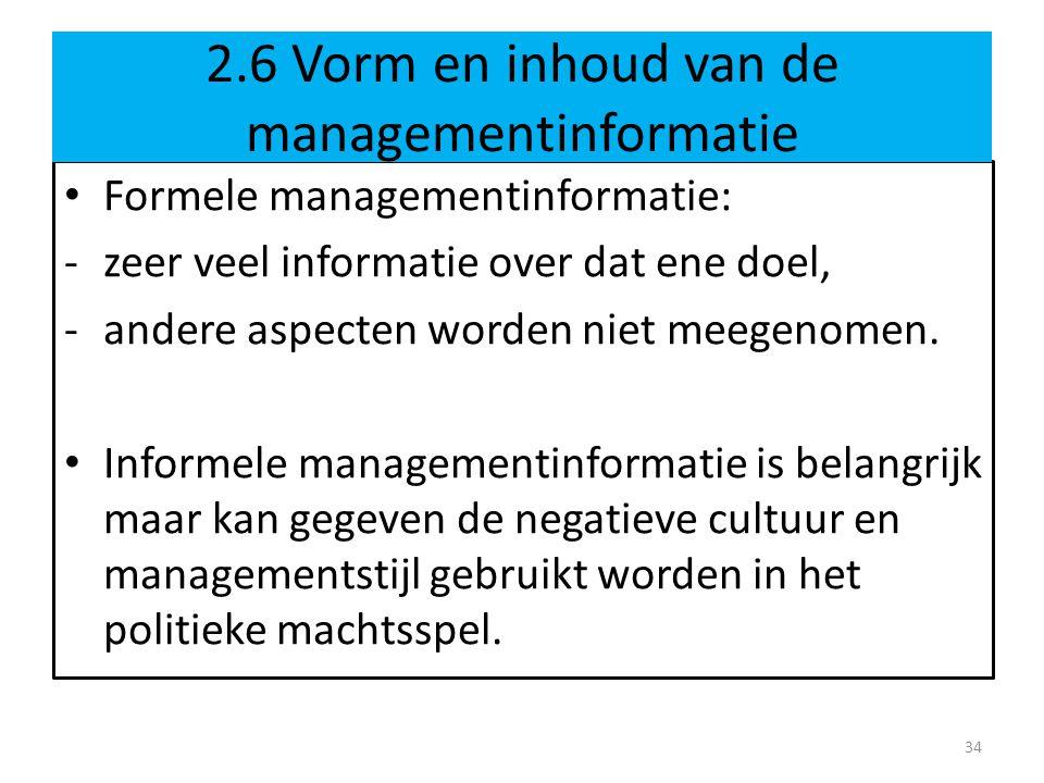 2.6 Vorm en inhoud van de managementinformatie