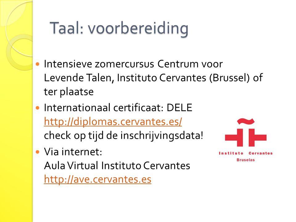 Taal: voorbereiding Intensieve zomercursus Centrum voor Levende Talen, Instituto Cervantes (Brussel) of ter plaatse.