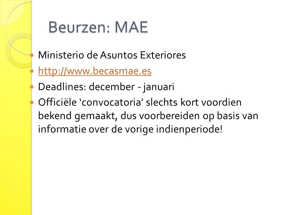 Beurzen: MAE Ministerio de Asuntos Exteriores http://www.becasmae.es