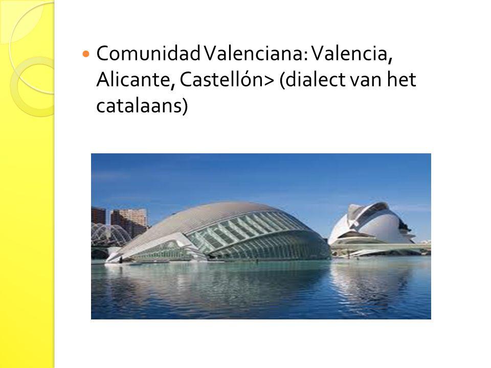 Comunidad Valenciana: Valencia, Alicante, Castellón> (dialect van het catalaans)