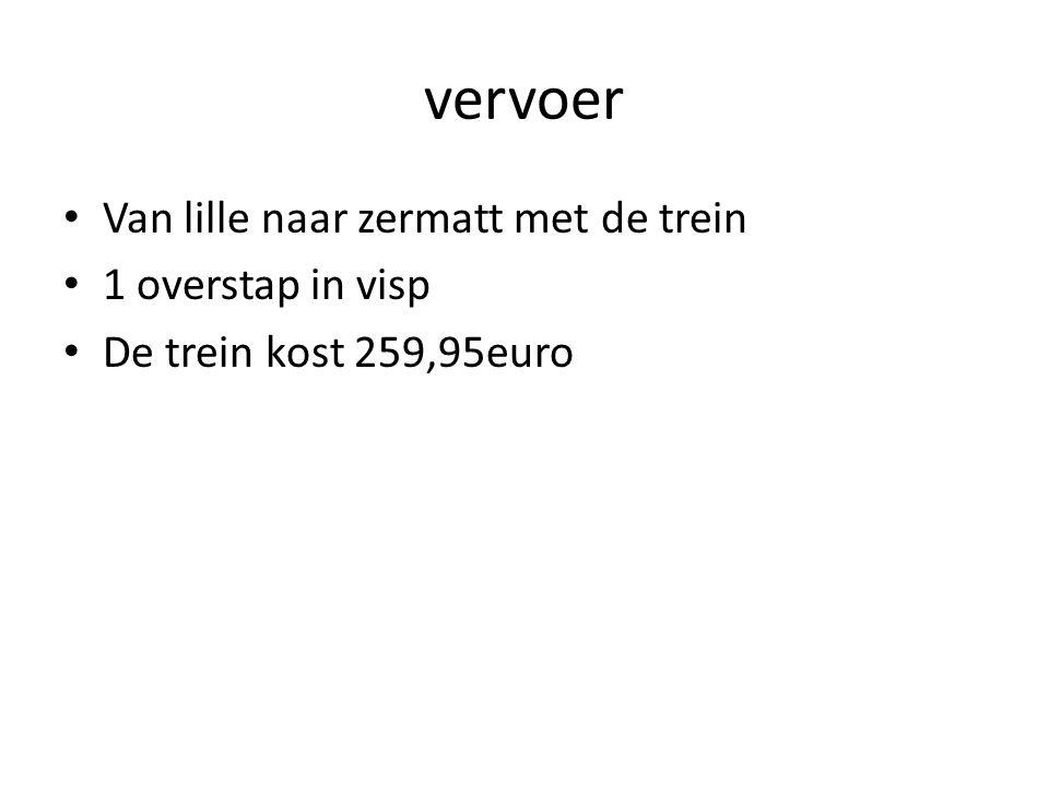 vervoer Van lille naar zermatt met de trein 1 overstap in visp
