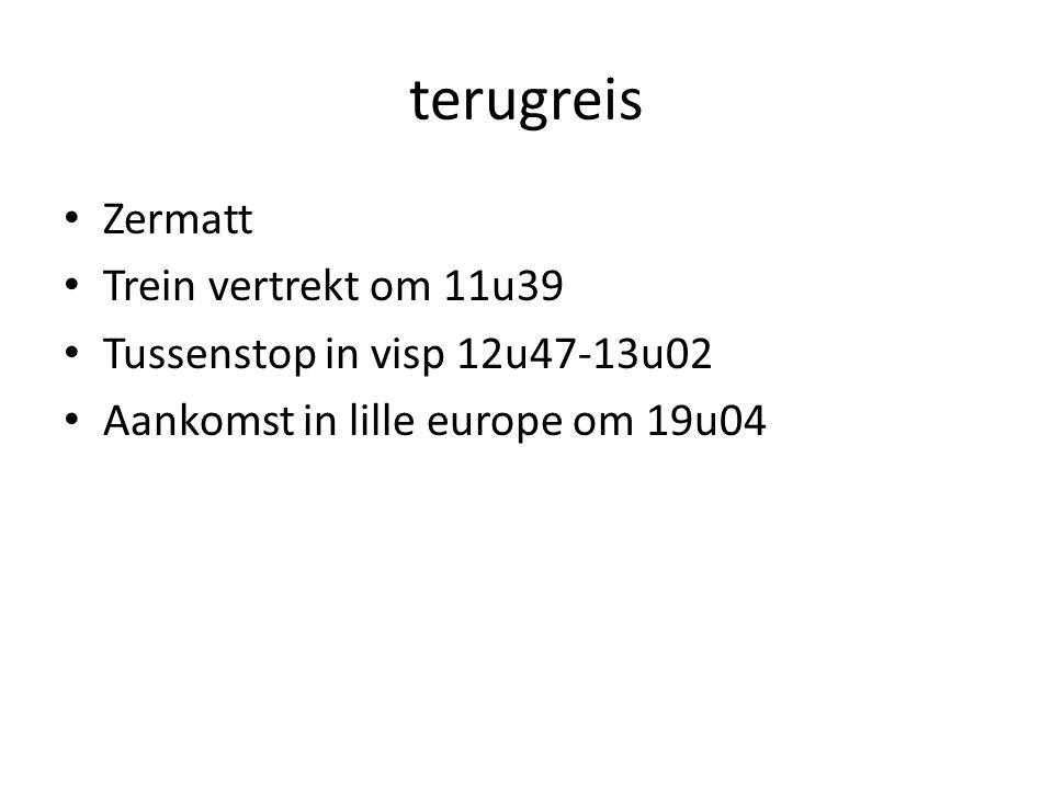 terugreis Zermatt Trein vertrekt om 11u39