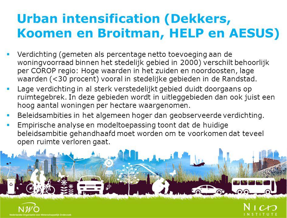 Urban intensification (Dekkers, Koomen en Broitman, HELP en AESUS)