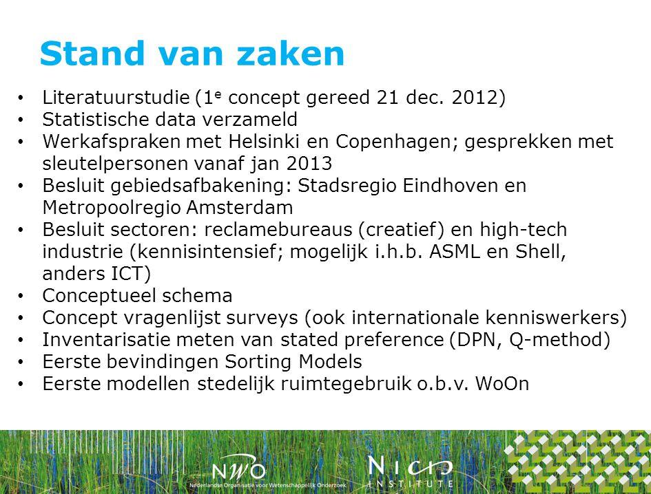 Stand van zaken Literatuurstudie (1e concept gereed 21 dec. 2012)