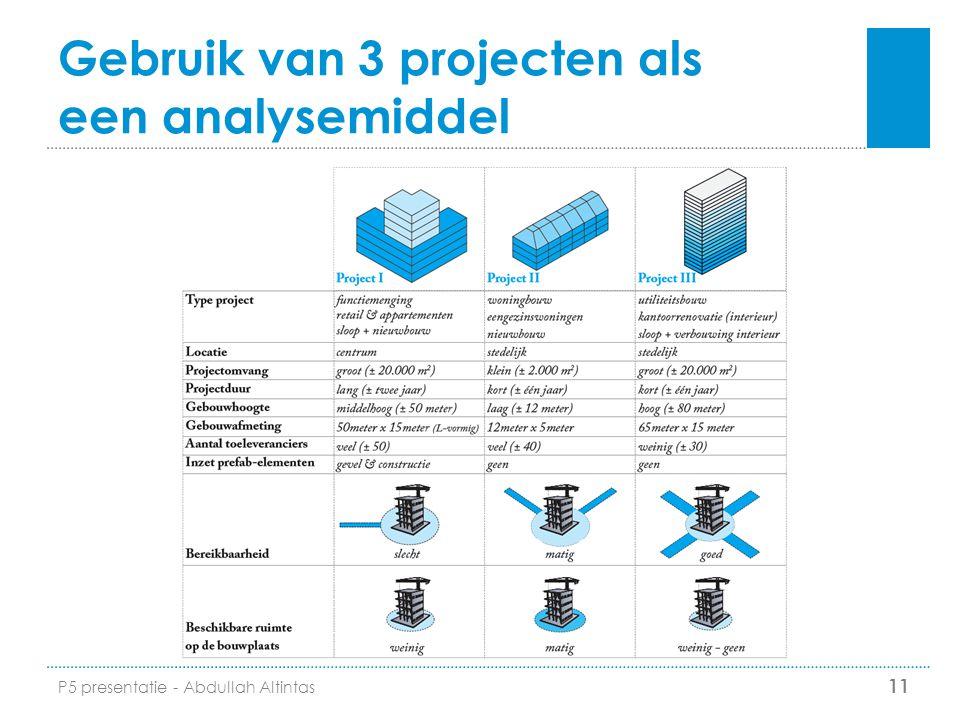 Gebruik van 3 projecten als een analysemiddel