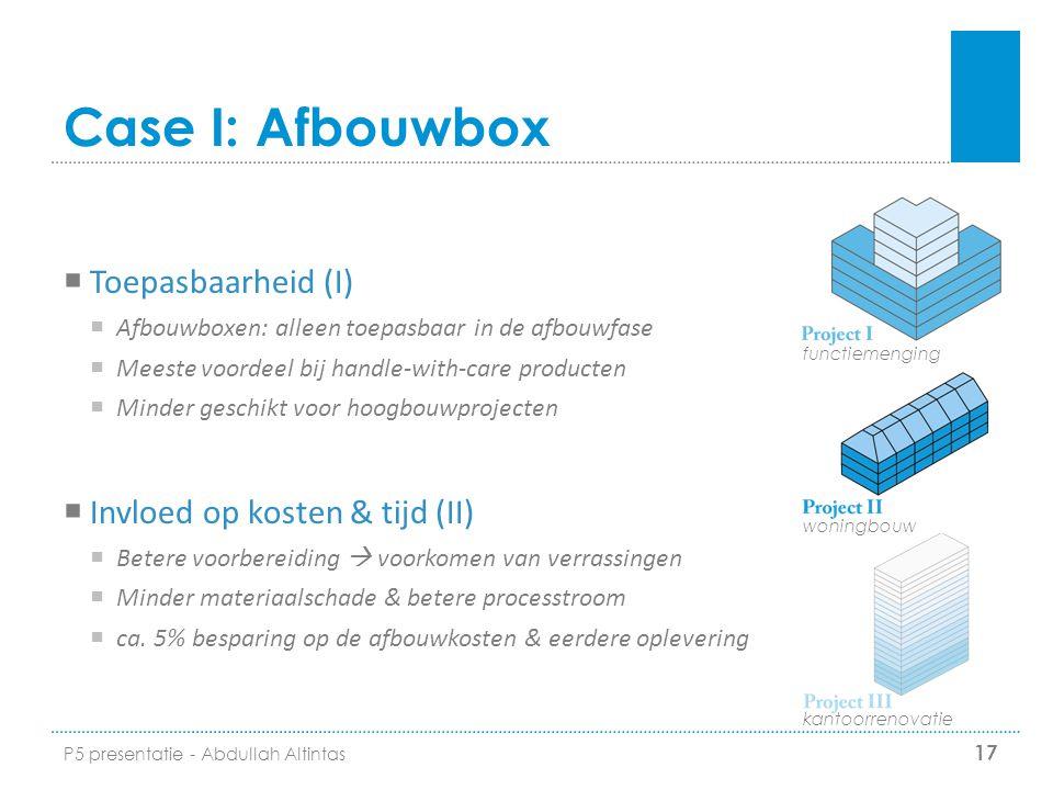 Case I: Afbouwbox Toepasbaarheid (I) Invloed op kosten & tijd (II)
