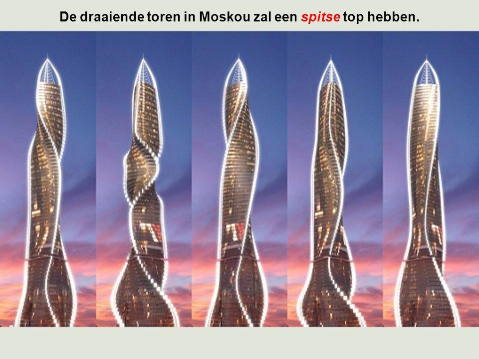 De draaiende toren in Moskou zal een spitse top hebben.