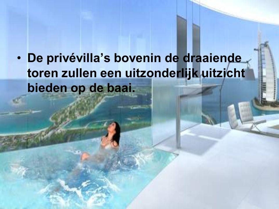 De privévilla's bovenin de draaiende toren zullen een uitzonderlijk uitzicht bieden op de baai.