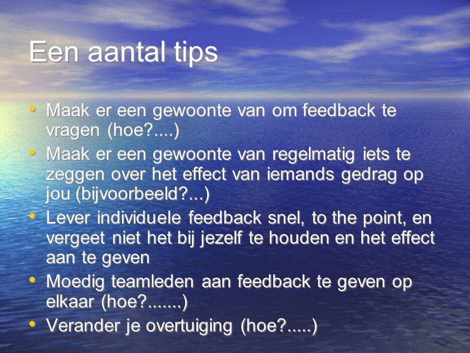 Een aantal tips Maak er een gewoonte van om feedback te vragen (hoe ....)