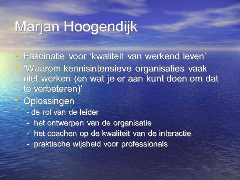 Marjan Hoogendijk Fascinatie voor 'kwaliteit van werkend leven'