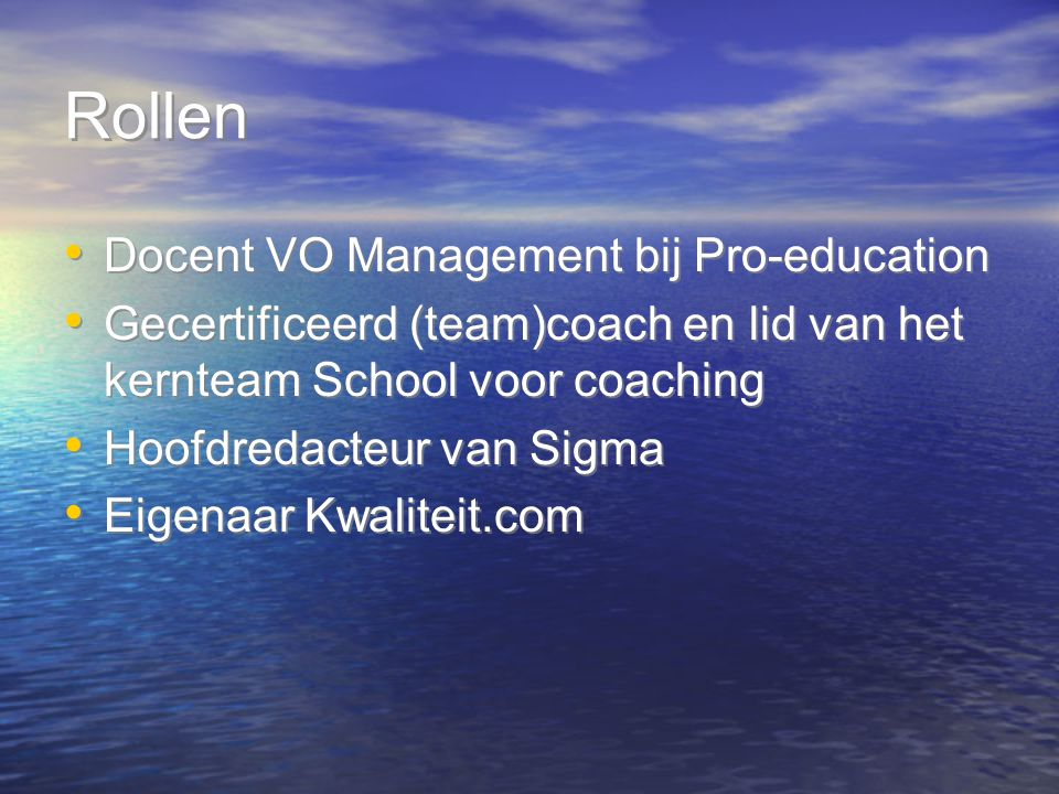 Rollen Docent VO Management bij Pro-education