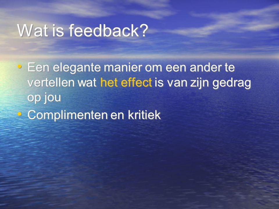 Wat is feedback Een elegante manier om een ander te vertellen wat het effect is van zijn gedrag op jou.