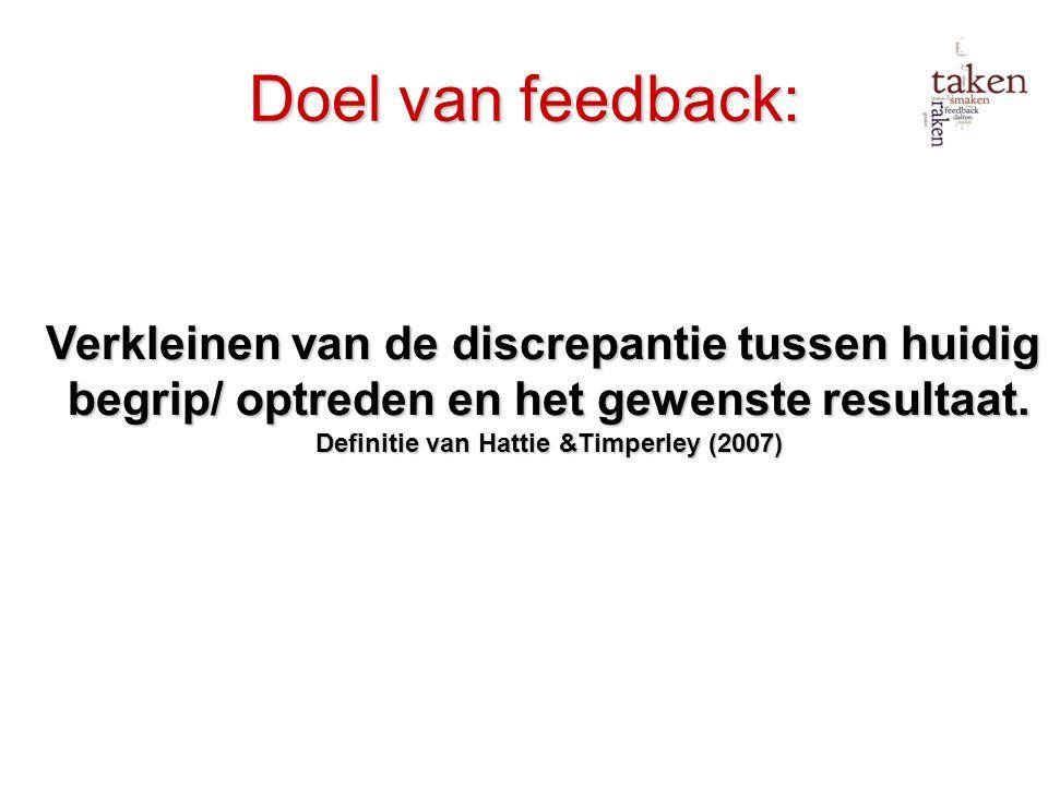 Doel van feedback: begrip/ optreden en het gewenste resultaat.