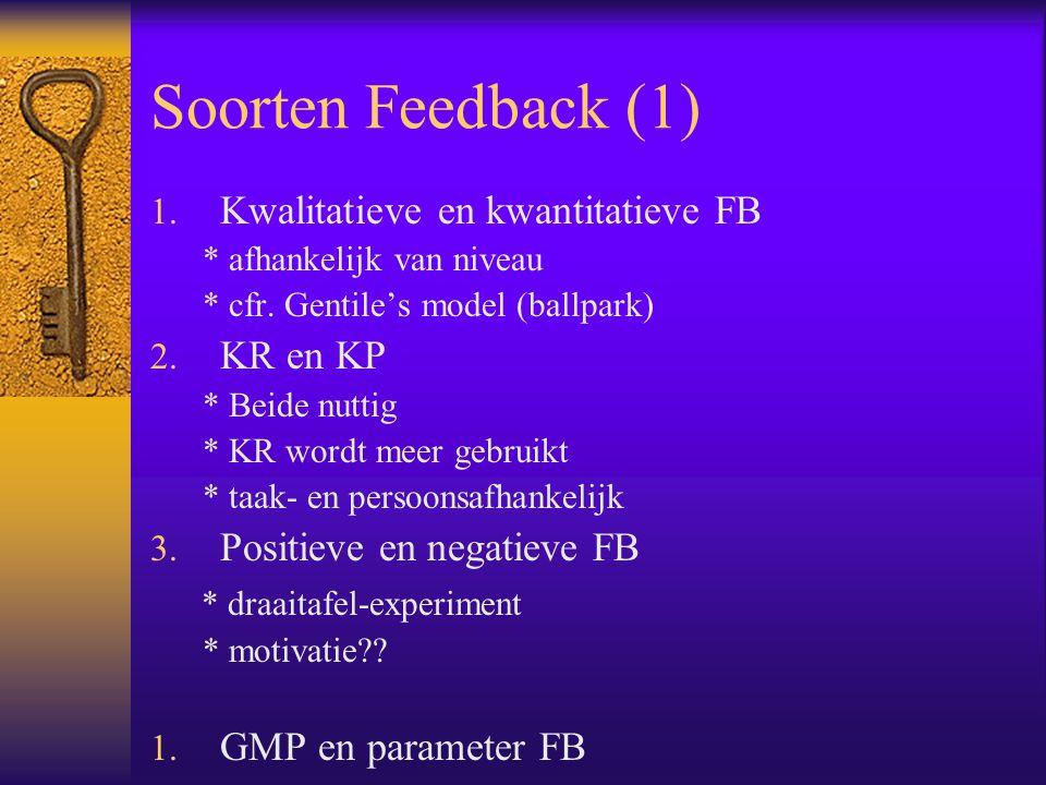 Soorten Feedback (1) Kwalitatieve en kwantitatieve FB KR en KP