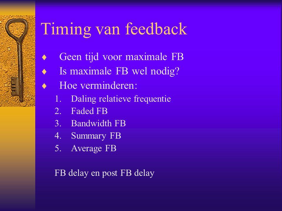 Timing van feedback Geen tijd voor maximale FB