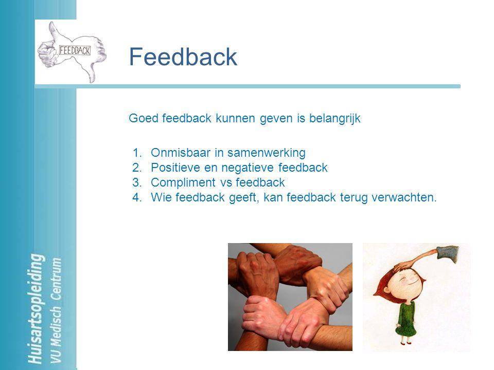 Feedback Goed feedback kunnen geven is belangrijk