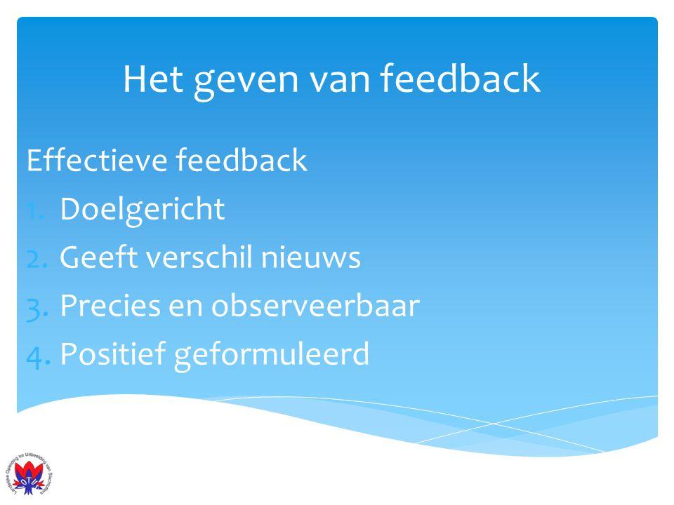 Het geven van feedback Effectieve feedback Doelgericht