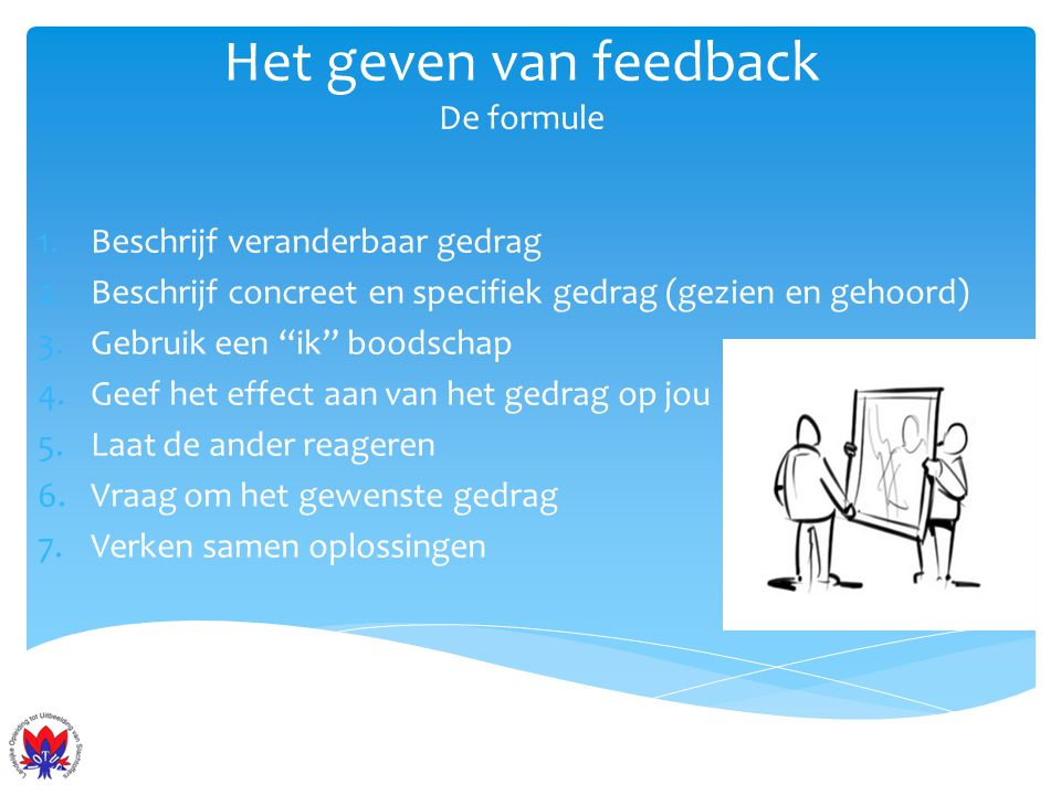 Het geven van feedback De formule