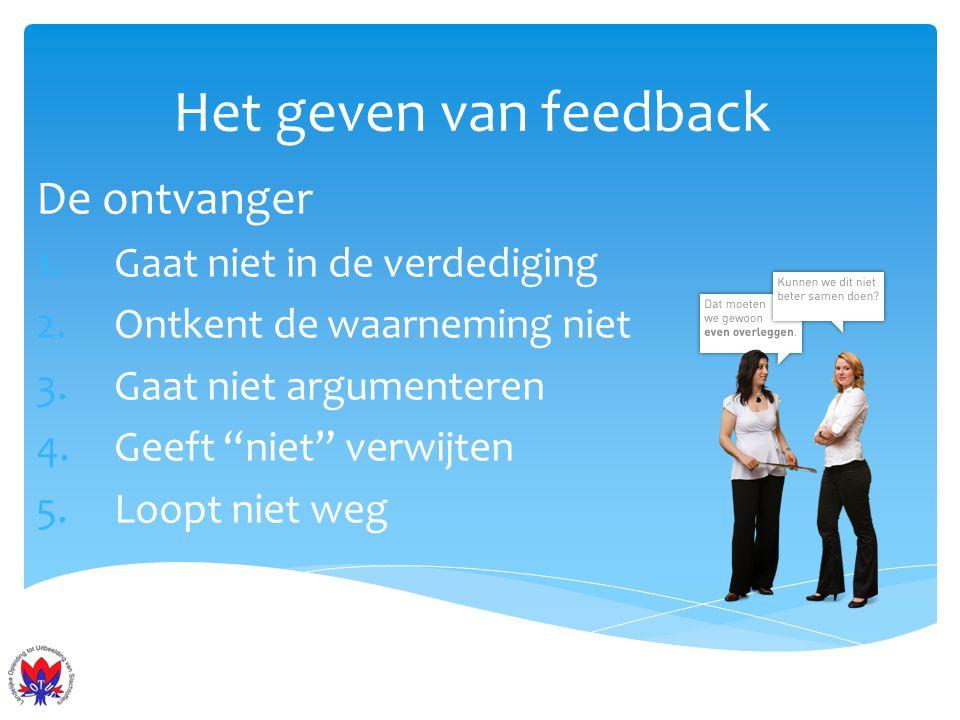 Het geven van feedback De ontvanger Gaat niet in de verdediging