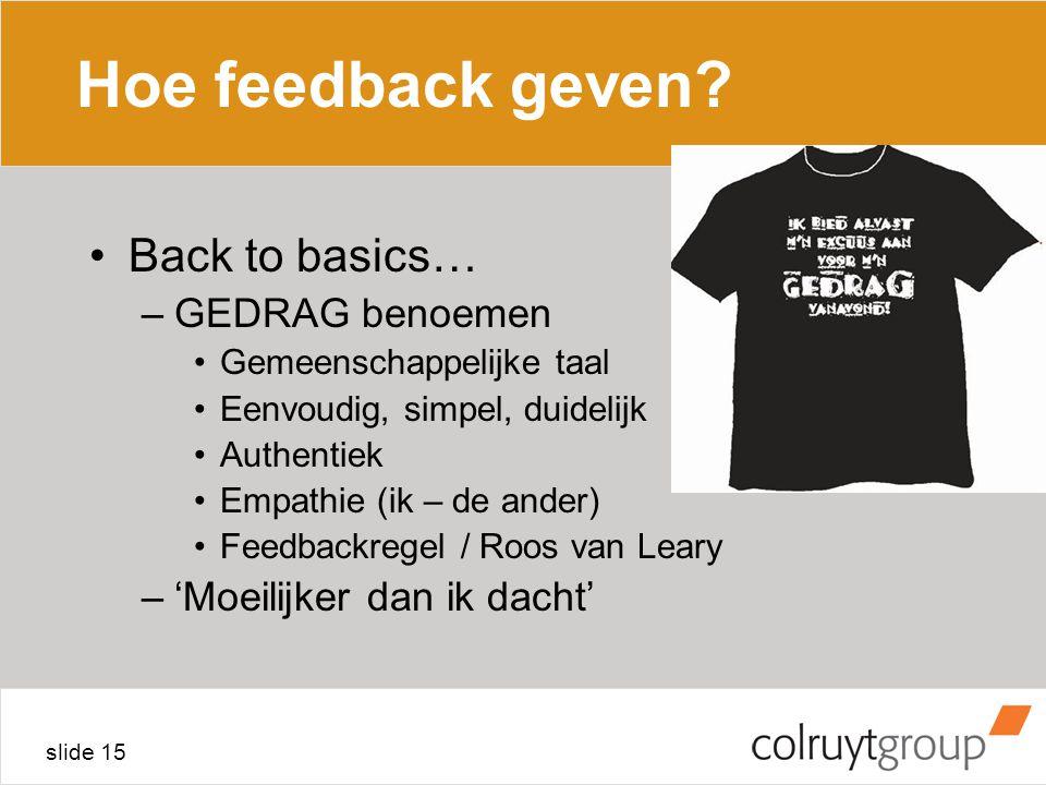 Hoe feedback geven Back to basics… GEDRAG benoemen
