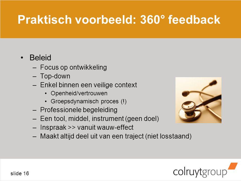 Praktisch voorbeeld: 360° feedback