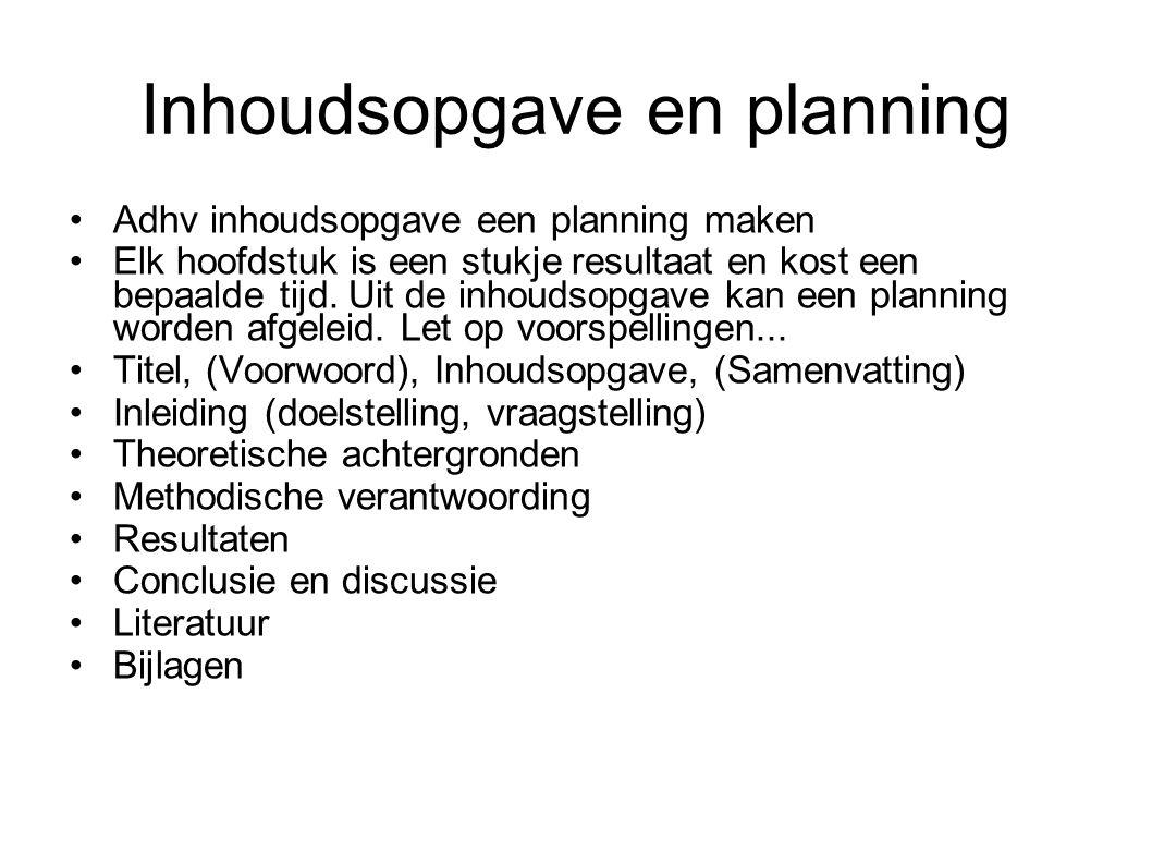 Inhoudsopgave en planning