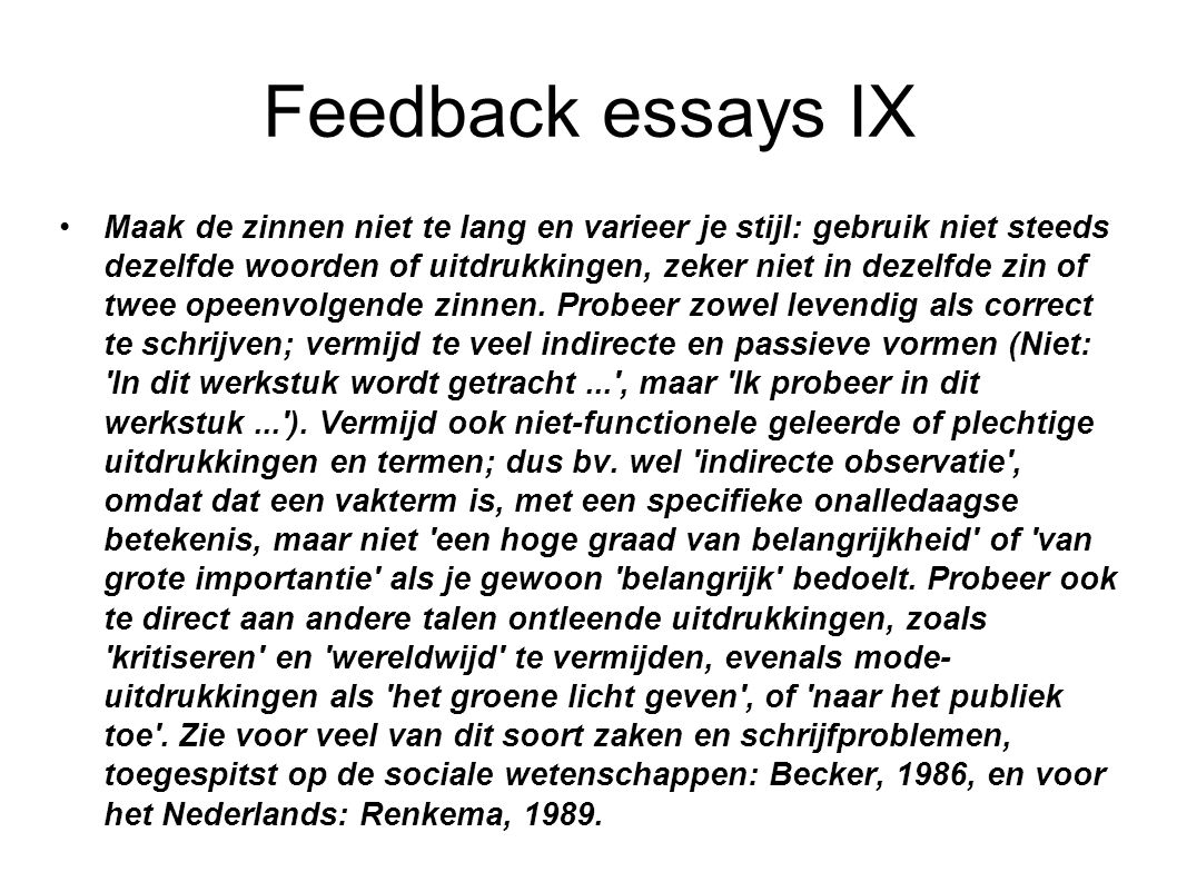 Feedback essays IX