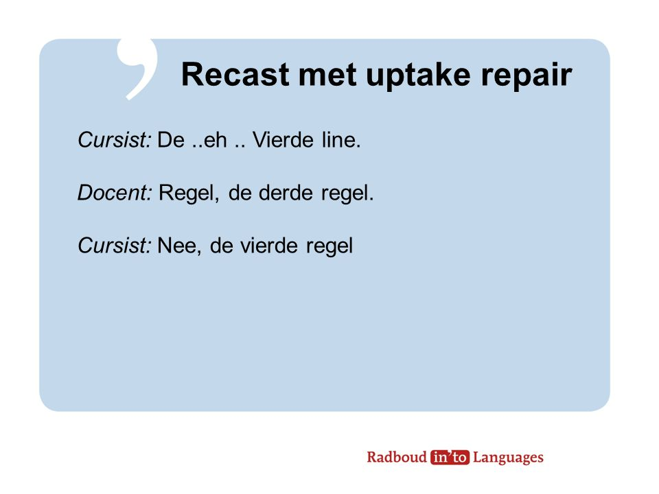 Recast met uptake repair