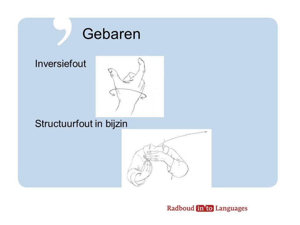 Gebaren Inversiefout Structuurfout in bijzin (Bakx & Giezenaar, 2007)