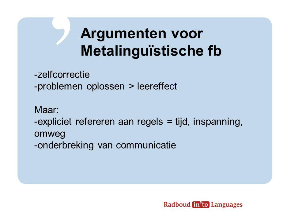 Argumenten voor Metalinguïstische fb