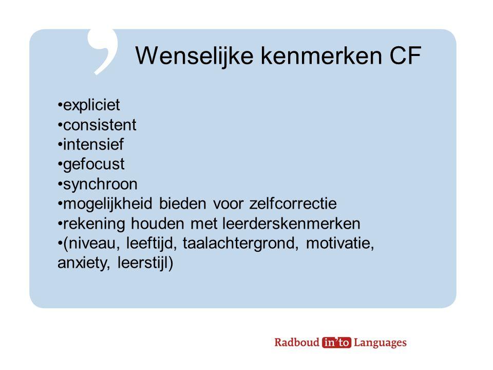 Wenselijke kenmerken CF