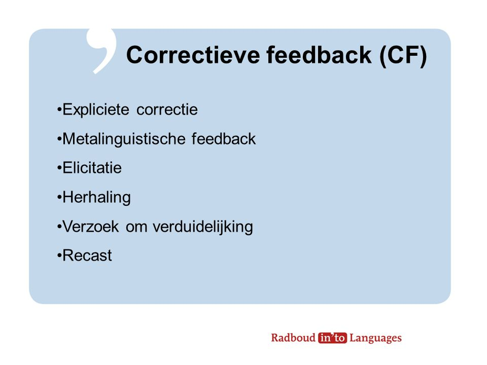 Correctieve feedback (CF)
