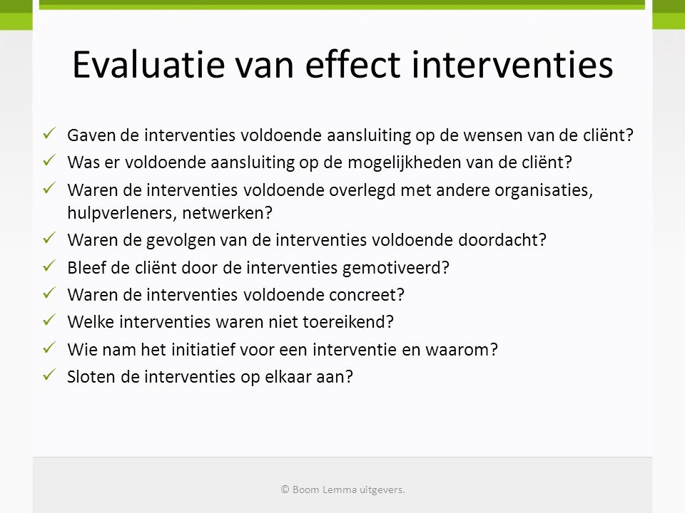 Evaluatie van effect interventies
