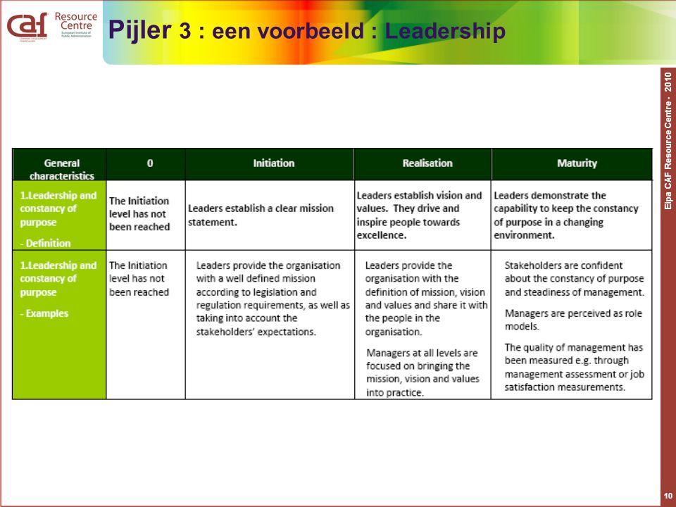 Pijler 3 : een voorbeeld : Leadership