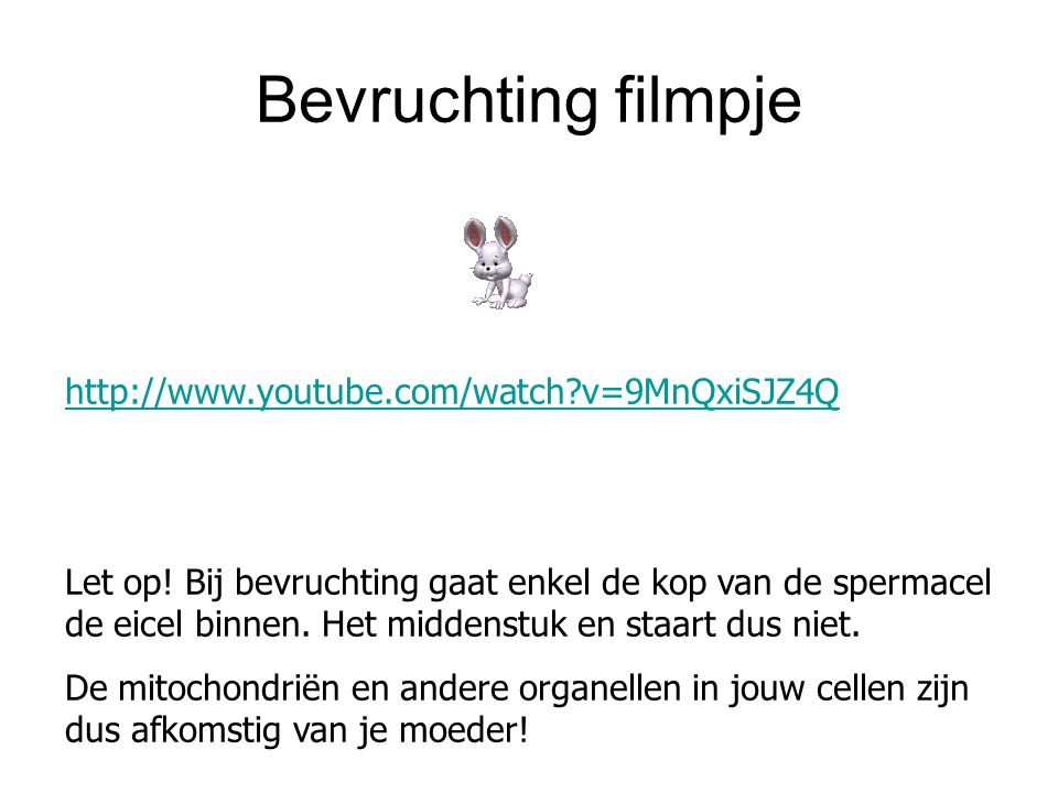 Bevruchting filmpje http://www.youtube.com/watch v=9MnQxiSJZ4Q