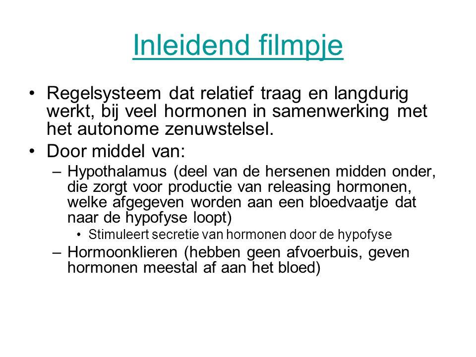 Inleidend filmpje Regelsysteem dat relatief traag en langdurig werkt, bij veel hormonen in samenwerking met het autonome zenuwstelsel.
