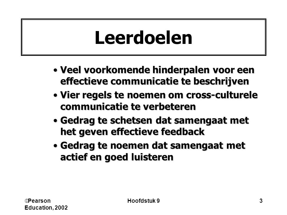 Leerdoelen Veel voorkomende hinderpalen voor een effectieve communicatie te beschrijven.