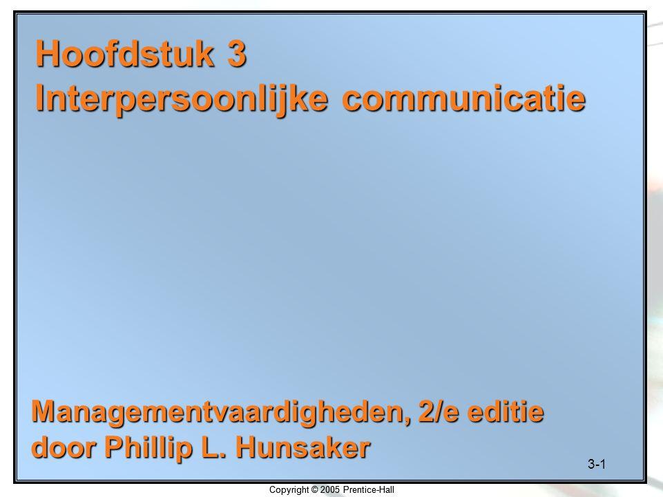 Hoofdstuk 3 Interpersoonlijke communicatie