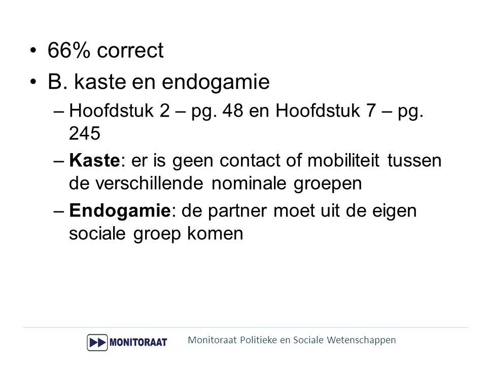 66% correct B. kaste en endogamie
