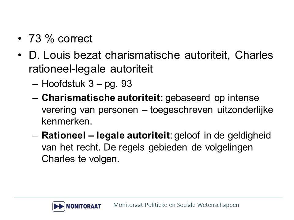 73 % correct D. Louis bezat charismatische autoriteit, Charles rationeel-legale autoriteit. Hoofdstuk 3 – pg. 93.