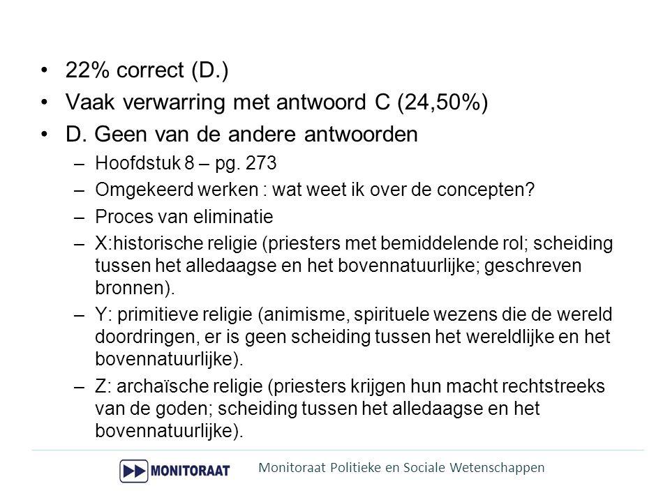 Vaak verwarring met antwoord C (24,50%)