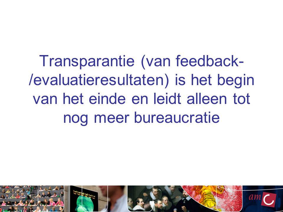 Transparantie (van feedback-/evaluatieresultaten) is het begin van het einde en leidt alleen tot nog meer bureaucratie