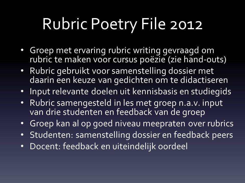 Rubric Poetry File 2012 Groep met ervaring rubric writing gevraagd om rubric te maken voor cursus poëzie (zie hand-outs)