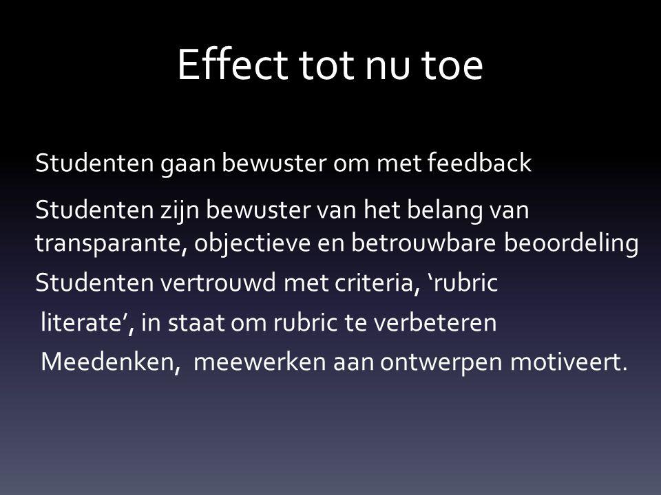 Effect tot nu toe Studenten gaan bewuster om met feedback