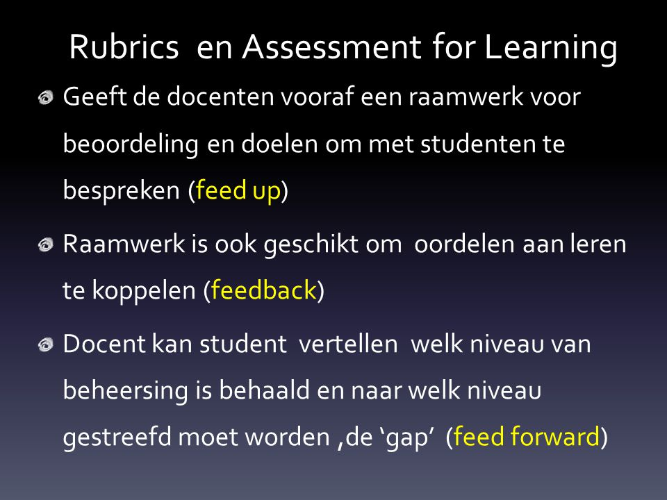 Rubrics en Assessment for Learning