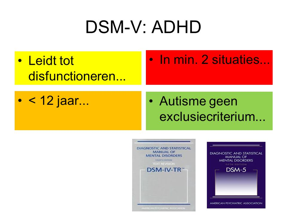 DSM-V: ADHD In min. 2 situaties... Leidt tot disfunctioneren...