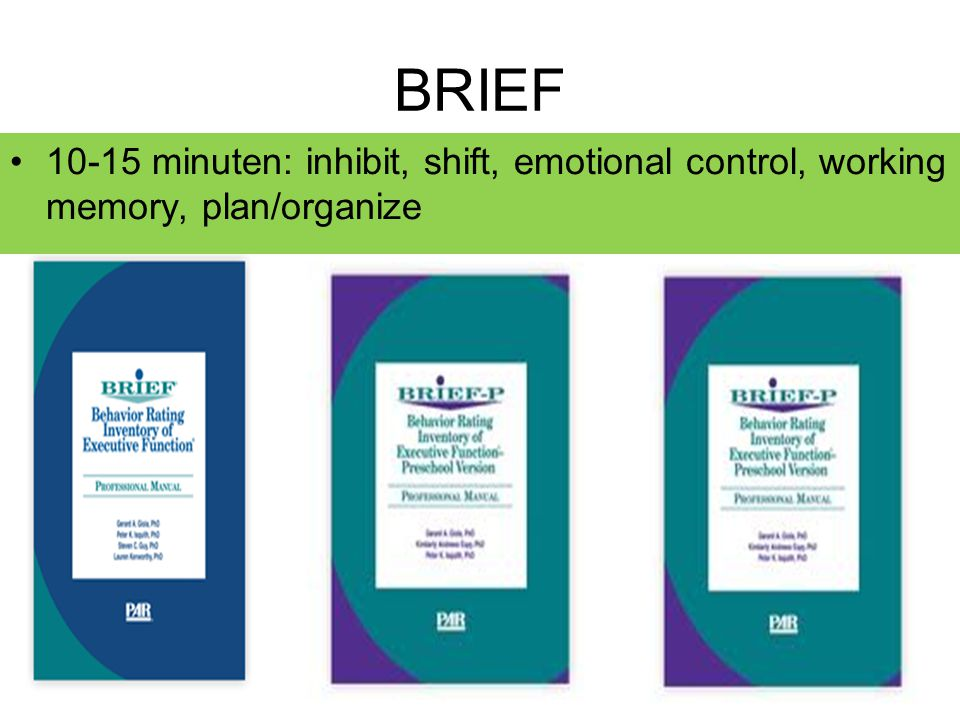 BRIEF 10-15 minuten: inhibit, shift, emotional control, working memory, plan/organize