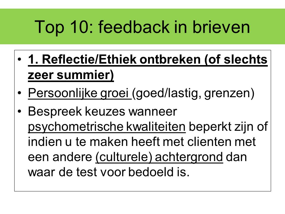 Top 10: feedback in brieven