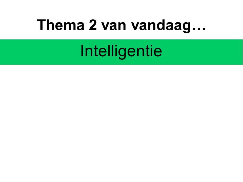 Thema 2 van vandaag… Intelligentie