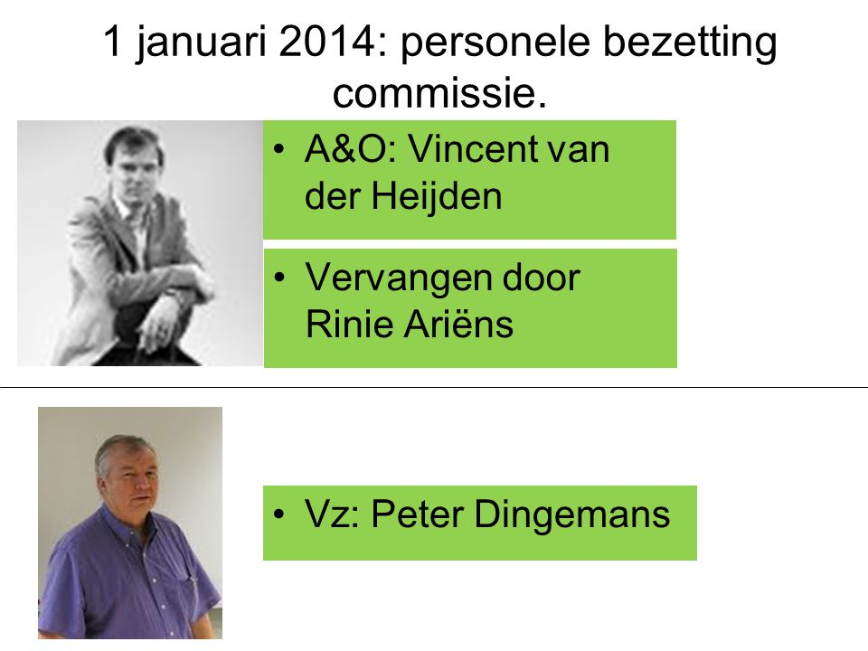 1 januari 2014: personele bezetting commissie.